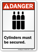 Danger (ANSI) Cylinders Must Be Secured Sign