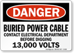 Buried Power Cable Contact Electrical Department Sign
