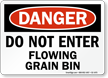 Dont Enter Flowing Grain Bin Danger Sign