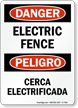 Bilingual OSHA Danger Electric Fence Sign