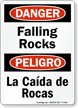 Falling Rocks Bilingual Sign