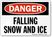 Danger Falling Snow Ice Sign