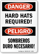 Danger Hard Hats Required Bilingual Sign