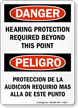 Danger Hearing Protection Required Beyond Point Bilingual Sign