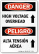 High Voltage Overhead Bilingual Sign