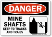 Mine Shafts Keep To Tracks Trails Danger Sign