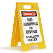 Danger No Jumping Or Diving Shallow Water Floor Sign