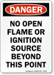 Danger No Open Flame Sign