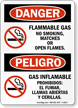 Danger No Smoking Flammable Gas Bilingual Sign