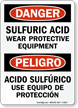Danger Sulfuric Acid Wear Protective Equipment Bilingual Sign