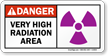 Danger: Very Radiation Area Sign