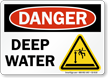 Deep Water OSHA Danger Sign With Graphic