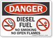 Diesel Fuel No Smoking Open Flames Danger Sign