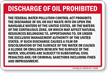 Discharge Oil Prohibited, US Water Pollution Act Sign