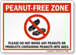 Do Not Bring Peanuts, Products Containing Peanuts Sign