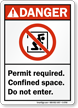 Permit Required. Confined Space Sign