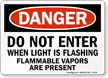 Do Not Enter When Light Flashing Danger Sign