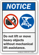 Do Not Lift Move Heavy Objects Sign