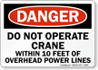 Danger Operate Crane Power Lines Sign