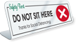 Do Not Sit Here Thanks For Social Distancing Desk Sign