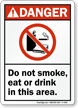 Do Not Smoke Eat or Drink Sign