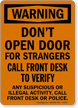 Don't Open Door For Strangers Osha Warning Sign