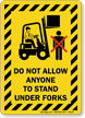 Striped Border Forklift Warning Sign