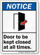 Door Kept Closed All Times ANSI Notice Sign