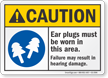 Ear Plugs Must Be Worn In This Area ANSI Caution Sign