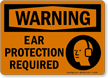 Ear Protection Required Sign With Ear Muff Graphic