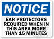 Notice Ear Protectors Required Sign; Time Frame