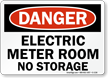Electric Meter Room No Storage OSHA Danger Sign