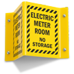 Electric Meter Room No Storage Projecting Sign