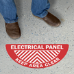 Electrical Panel Keep Area Clear Semicircle Floor Sign