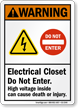 Electrical Closet Do Not Enter High Voltage Sign