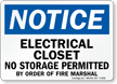 Electrical Closet No Storage Permitted Notice Sign