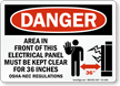 Electrical Panel Keep Clear Danger Sign