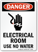 Electrical Room Use No Water Danger Sign