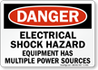 Electrical Hazard Equipment Has Multiple Power Sources Sign