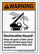 Keep Crane 20 Feet Away electrocution hazard Sign