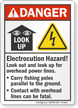 Electrocution Hazard Look Out For Power Lines Sign