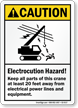 Keep All Parts of Crane 20 Feet Away Sign