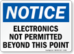 Electronics Not Permitted OSHA Notice Sign