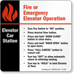 Emergency Elevator Car Station Sign, 6in. x 6in.
