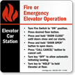 Elevator Car Station Operation Sign, 6in. x 6in.