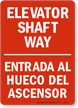 Elevator Shaft Way Bilingual Sign In Red
