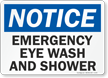 Notice: Emergency Eye Wash and Shower Sign
