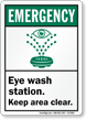 Eyewash Shower Station Keep Area Clear Sign