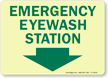 Emergency Eyewash Station Sign (Arrow Down)