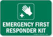 Emergency First Responder Kit Sign (with Graphic)